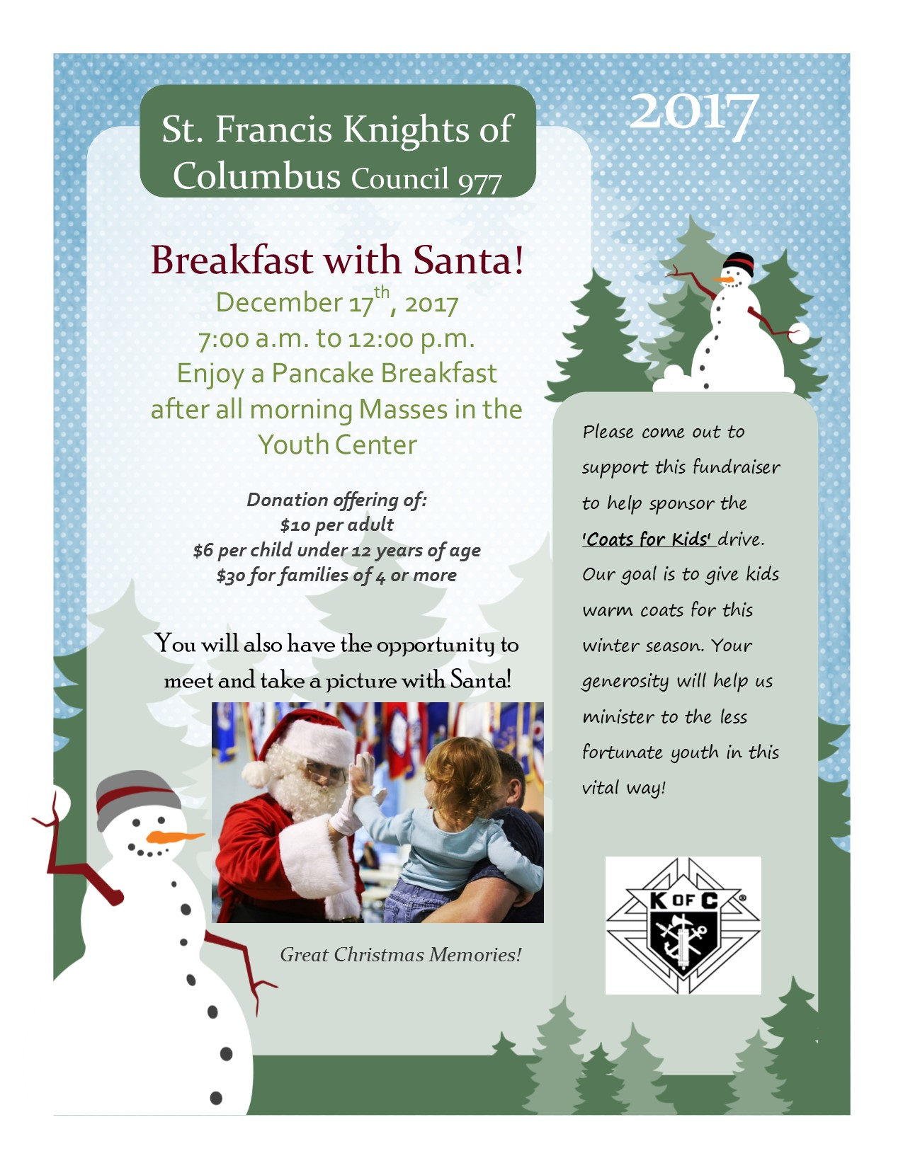 Knights of Colombus - Breakfast with Santa @ St. Francis Youth Center
