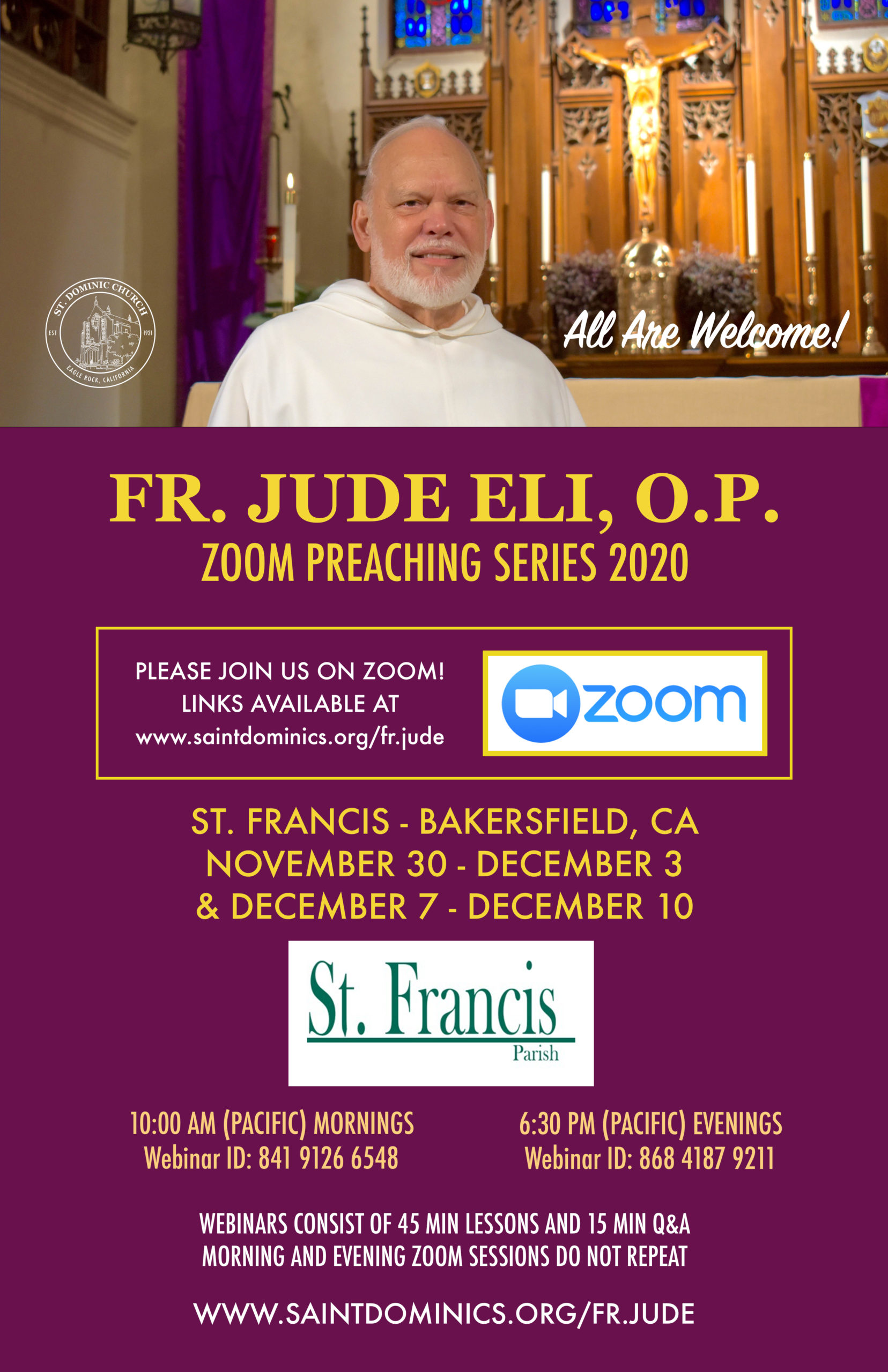 Fr. Jude Eli, O.P. Zoom Preaching Series 2020-Morning Classes